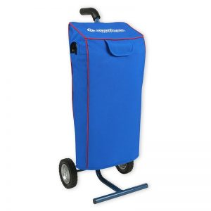 Deep blue canvas Protective Cover with red trim. Side ports allow connection of hoses, and velcro flap over TDS meter is closed.